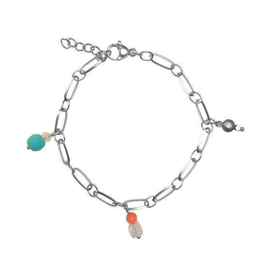 Edelsteen Hangertjes Armband - Zilver