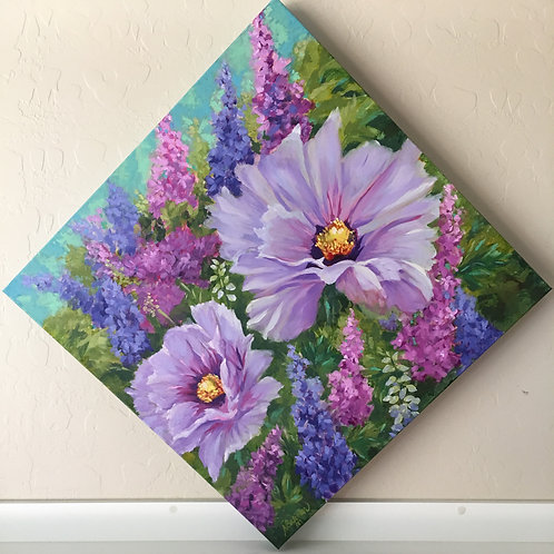 poppy, lavender, delphiniums, bright colors, spring, colorful flowers