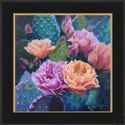 cactus blooms, framed giclee, home decor