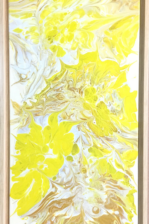 yellow, abstract art, abstract floral art, acrylic painting, gold