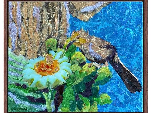 mixed media saguaro and bird