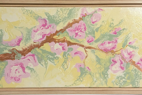 pink, blossoms, cherry blossoms, green, abstract floral, flower painting, acrylic painting