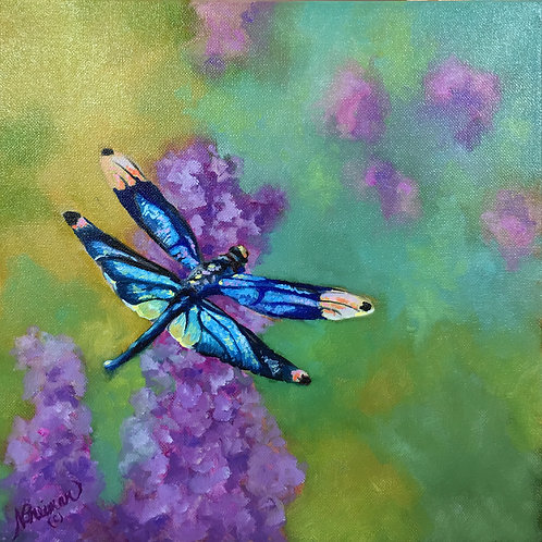 dragonfly, soft images, spring, purple, oil painting,