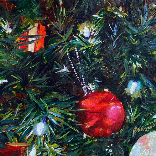 Christmas, Christmas tree, oil painting Christmas, Red Christmas Ornament