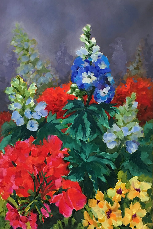 delphinium, geranium, spring garden, oil painting, home decor