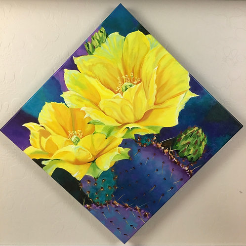 yellow cactus blooms, bright colors, southwest painting, gallery canvas painting, home decor