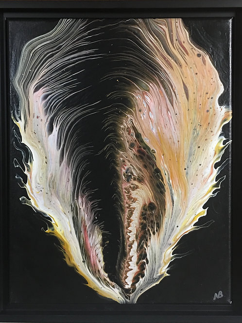 contemporary art, acrylic paint, flames, wings, black and gold,