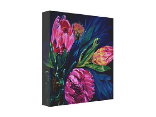 protea, protea bouquet, pink flowers, canvas giclee,