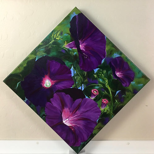 morning glories, purple, spring, oil painting, home decor