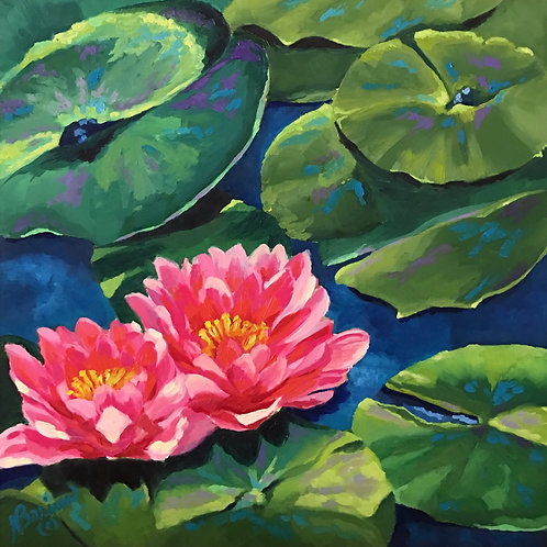 waterlily, ponds, oil painting, pink flowers, aquatic plants