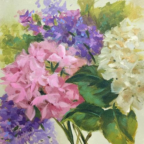 spring, hydrangea, pink, purple, liliac, soft pastel, oil painting