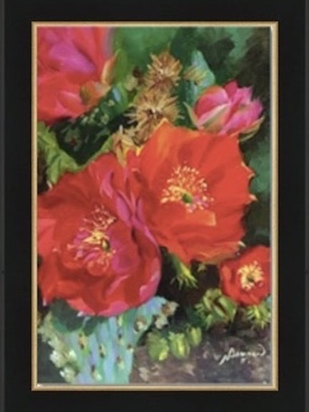 cactus bloom, framed giclee, home decor