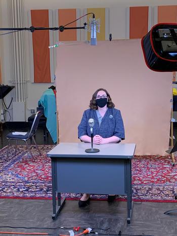 Suzi getting set to record
