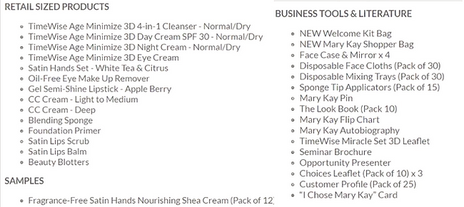 Mary Kay New Welcome Starter Kit Contents
