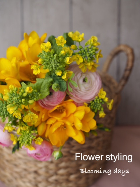 Flower styling  花のある暮らし 菜の花
