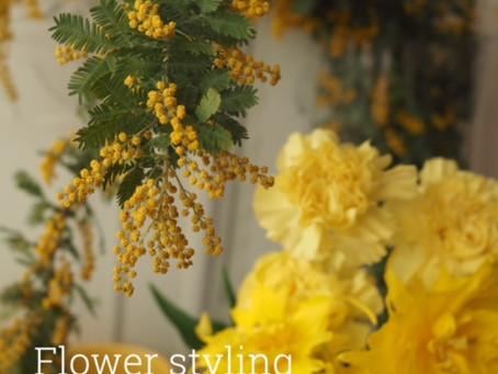 Flower styling ミモザ