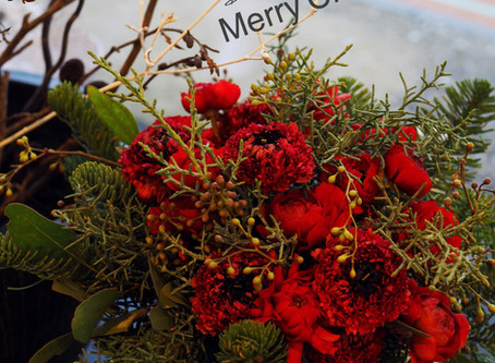 Flower styling クリスマスレッド