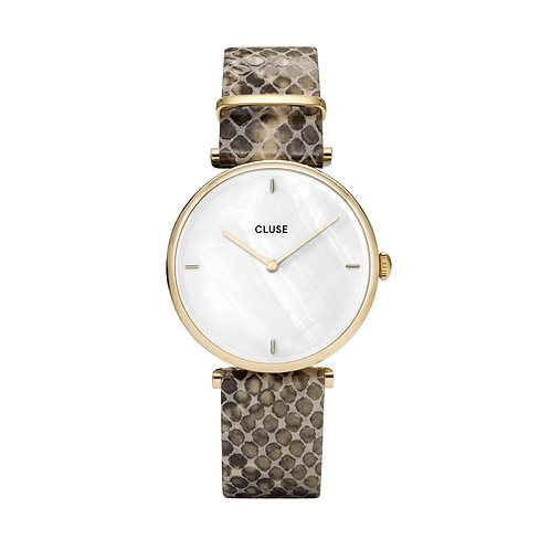 CLUSE Triomphe Gold White Pearl / Soft Almond Python Watch