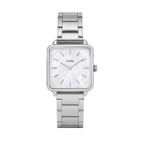 CLUSE La Tetragone Three Link Silver/White Pearl Watch