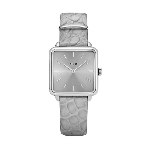 CLUSE La Tetragone Silver / Soft Grey Alligator Watch