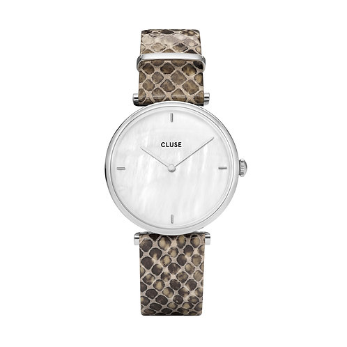 CLUSE Triomphe Silver White Pearl / Soft Almond Python Watch
