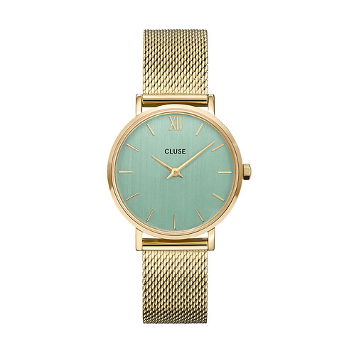 CLUSE Minuit Gold Stone Green/Gold Mesh