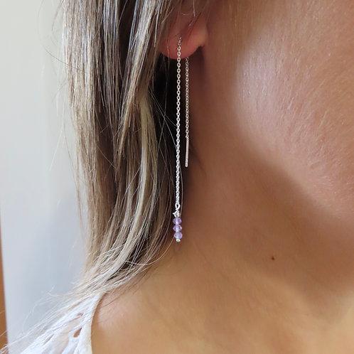 Purple Stone Thread Earrings
