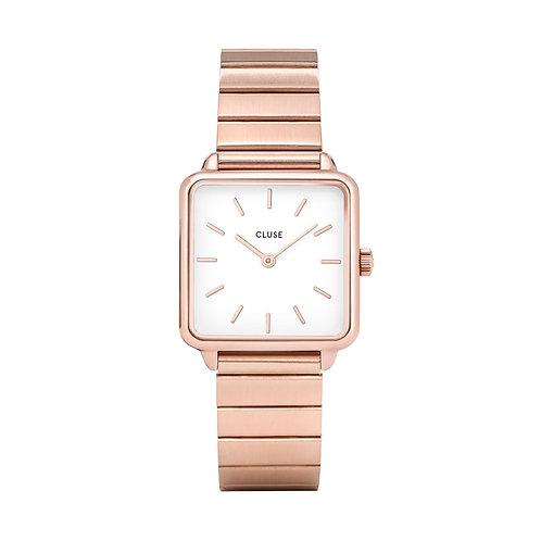 CLUSE La Tetragone Single Link Rose Gold/White Watch