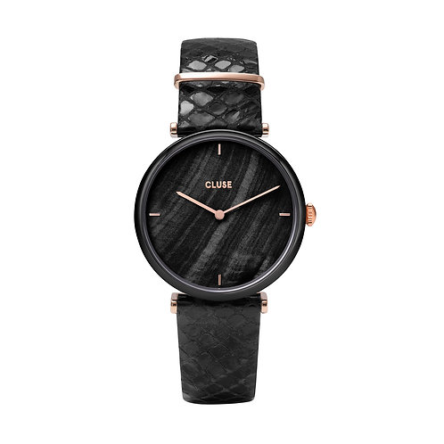 CLUSE Triomphe Black Pearl/Black Python Leather