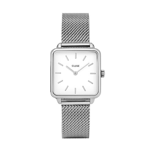 CLUSE La Tetragone Silver Mesh / White Watch