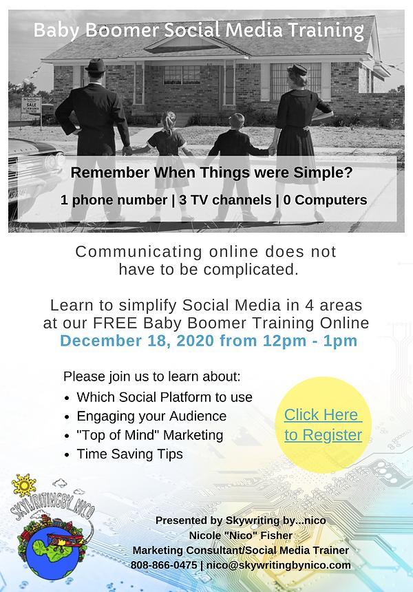 Baby Boomer Social Media Training flyer.