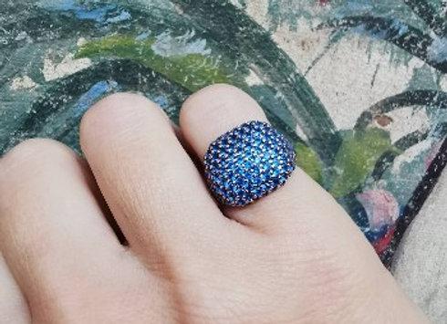 Anello zirconi blu