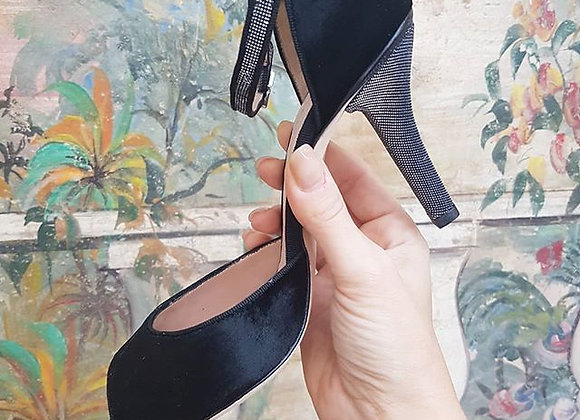 Sandalo spuntata con cinturino e tacco lurex