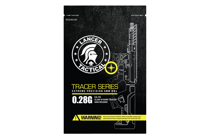 Lancer Tactical 4000 Round 0.28g Seamless Tracer Airsoft BBs