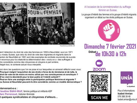 Dimanche 7 février conférence-débat en ligne:1971 suffrage féminin, 2021 suffrage universel ?