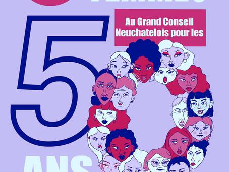 50 femmes* au Grand Conseil neuchâtelois pour les 50 ans du droit de vote des femmes en Suisse !