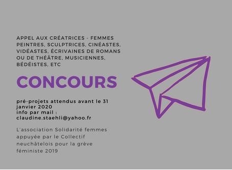 Concours pour créatrices - femmes peintres, sculptrices, cinéastes, vidéastes, écrivaines de romans