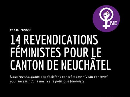14 revendications féministes pour le canton de Neuchâtel