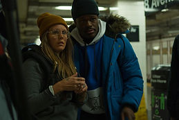 Shawn Antoine II and Emily McCartney on the set of Showtime
