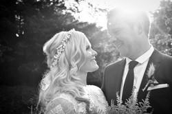Wedding portrait with sun
