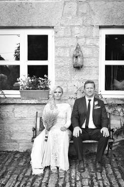 Old style wedding portrait of couple