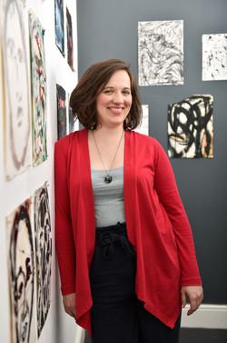 Artist in gallery