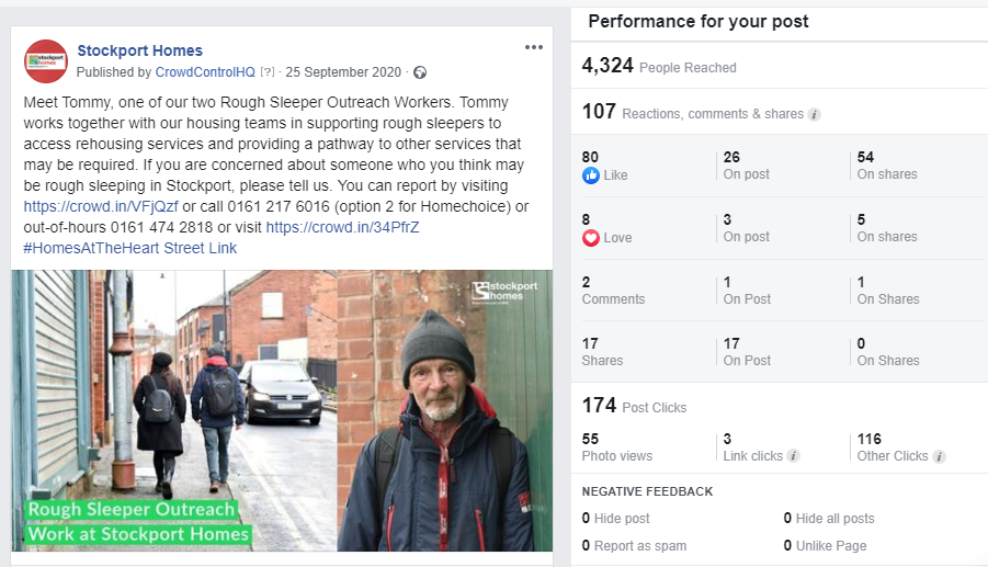 Facebook top post Rough Sleeper Outreach