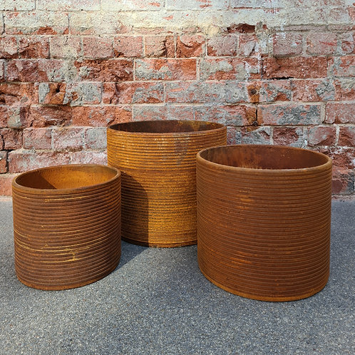 Rusty Finish Ribbed Concrete Cylinder Pot