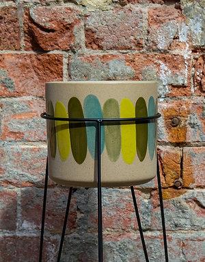 Yellow & Blue Striped Pot