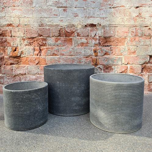 Original Cement Ribbed Concrete Cylinder Pot