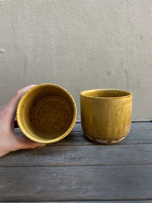 Mustard Drip Glazed Concrete Pot