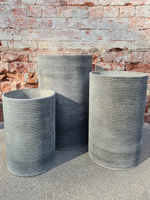 Tall Ribbed Round Cement Concrete Pot