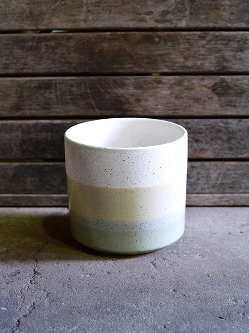Green and White Striped Ceramic Pot 18cm