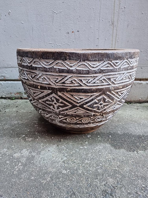 Brown Christian Pot Carved Large